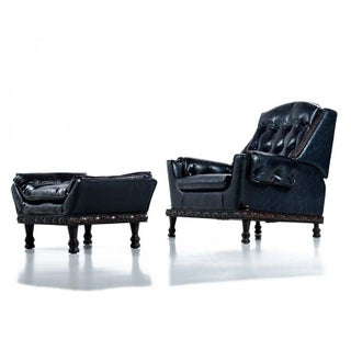 Spanish Meditteranean Style Black Tufted Vinyl Recliner Lounge Chair and Ottoman Preview