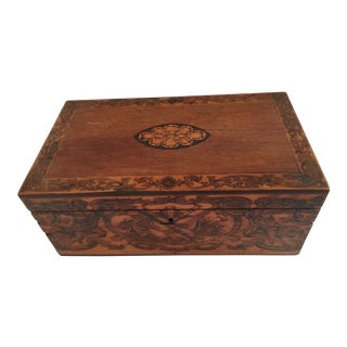 George III Mahogany, Tulipwood Banded, Sycamore and Hardwood Floral Marquetry Tea Caddy For Sale