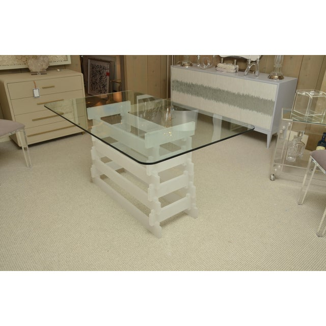 Mid-Century glass top dining table with frosted Lucite lattice base