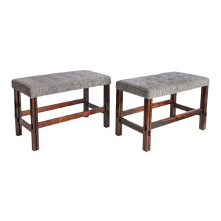 Brazilian Jacaranda Stools with Chenille Seats - a Pair For Sale