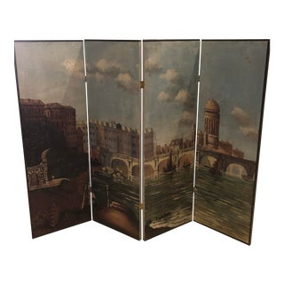 Vintage Folding Hand Painted Italian Venice Wall Room Divider For Sale