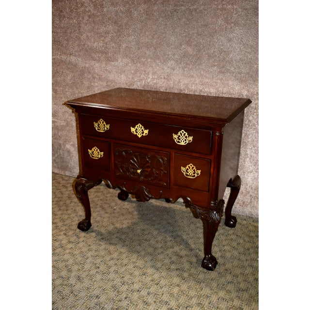 Wood Vintage Chippendale Councill Craftsmen Carved Mahogany Lowboy For Sale - Image 7 of 13