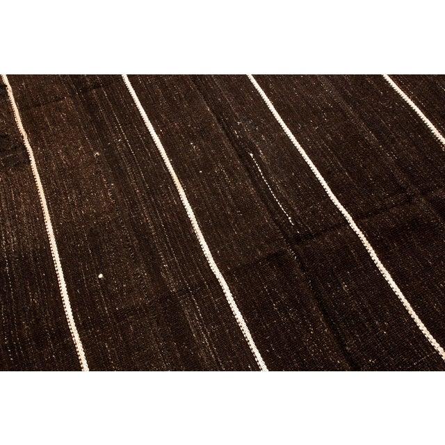 Vintage Mid-Century Brown Striped Kilim Wool Rug - 6′9″ × 10′ For Sale - Image 4 of 6