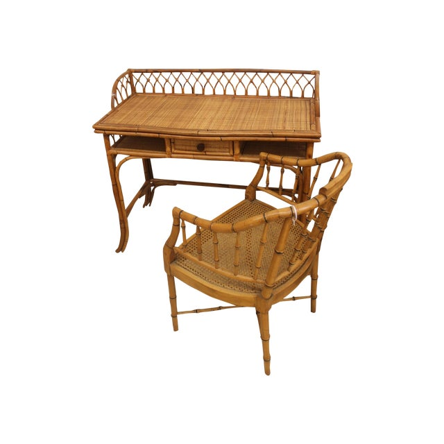 Rattan Desk and Bamboo Chair Set - Image 1 of 5