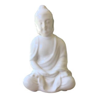 Chinoiserie White Porcelain Buddha Figurine For Sale