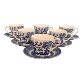 Blue Willow England Cups & Saucers - Set of 6 For Sale