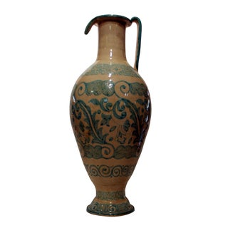 Boho Chic Moroccan Painted Ceramic Vase Pitcher For Sale