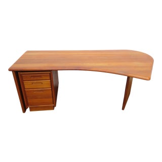 Danish Modern Curve Front Executive Office Desk With File Cabinet For Sale
