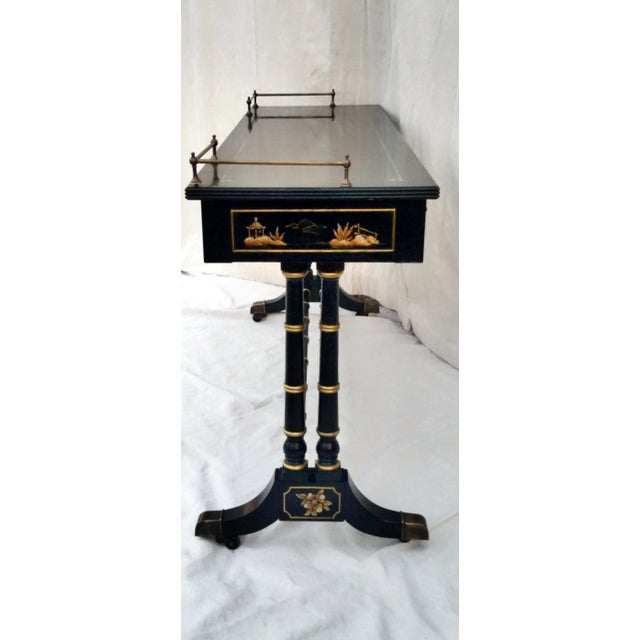 Vintage Hekman Asian Chinoiserie Faux Bamboo Table With Matching Stool For Sale In Phoenix - Image 6 of 13