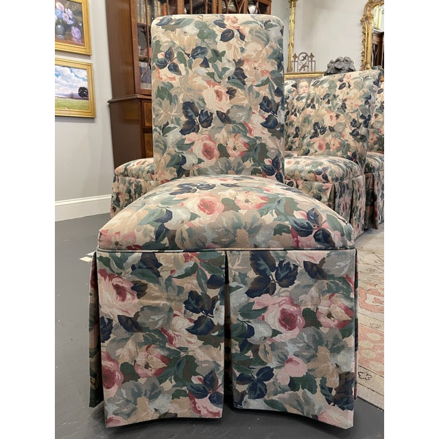 1960s Vintage Floral Parson Style Side Chairs - Set of 4 For Sale In Boston - Image 6 of 7