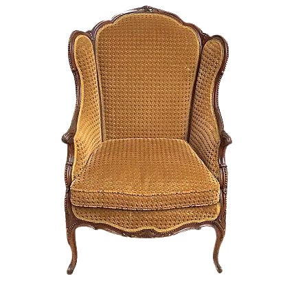 Antique Houndstooth Velvet Fauteuil For Sale