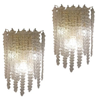 Pair of Large Murano Glass Sconces by Venini For Sale