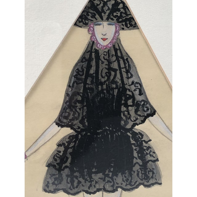 Art Deco Art Deco Period Fashion Costume Drawing of Venetian Woman For Sale - Image 3 of 10