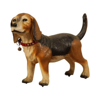 Realistic Vintage Concrete Garden Statue of a Standing Beagle For Sale
