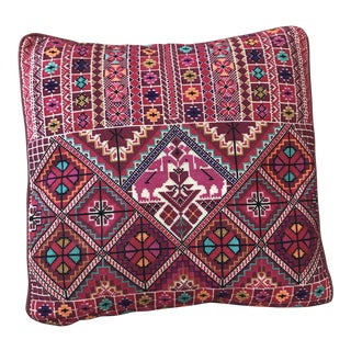 1970s Vintage Hand Embroidered Throw Pillow For Sale