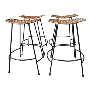 Arthur Umanoff Wrought Iron & Wicker Counter Height Bar Stools - Set of 4