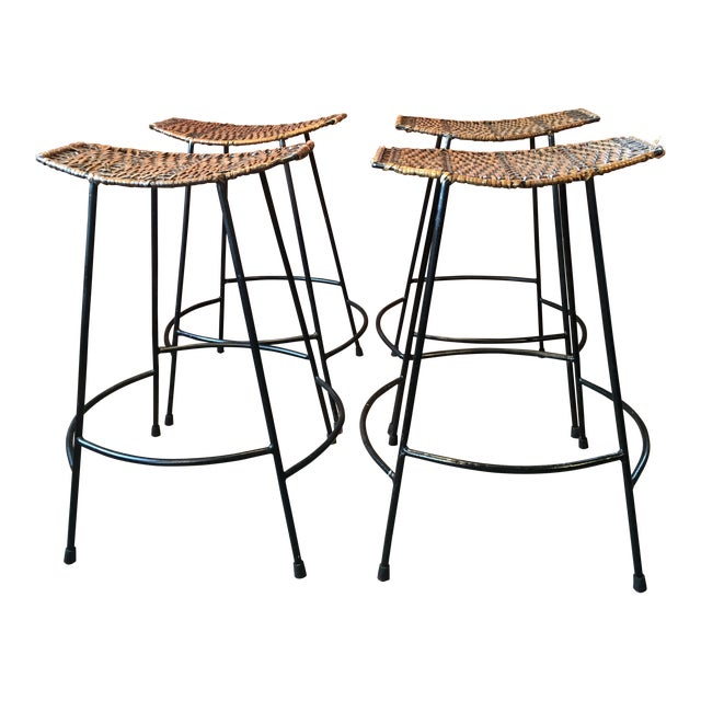 Arthur Umanoff Wrought Iron & Wicker Counter Height Bar Stools - Set of 4 For Sale