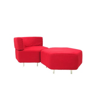 1960s Mid Century Modern Harvey Probber Red Hexagonal Chair & Ottoman - 2 Pieces
