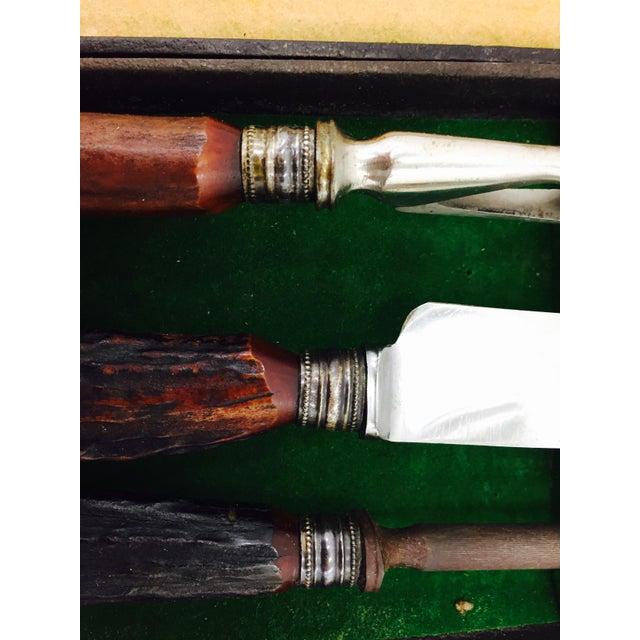 Vintage Sheffield Silver & Antler Horn Carving Set For Sale - Image 5 of 7