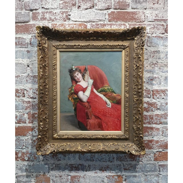 Jean Joseph Weerts - Portrait of a Woman in Red W/A Fan- Oil Painting C1880s For Sale In Los Angeles - Image 6 of 11