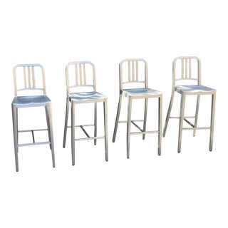 "Emeco ""Navy 1006"" Aluminum Barstools - Set of 4 For Sale"