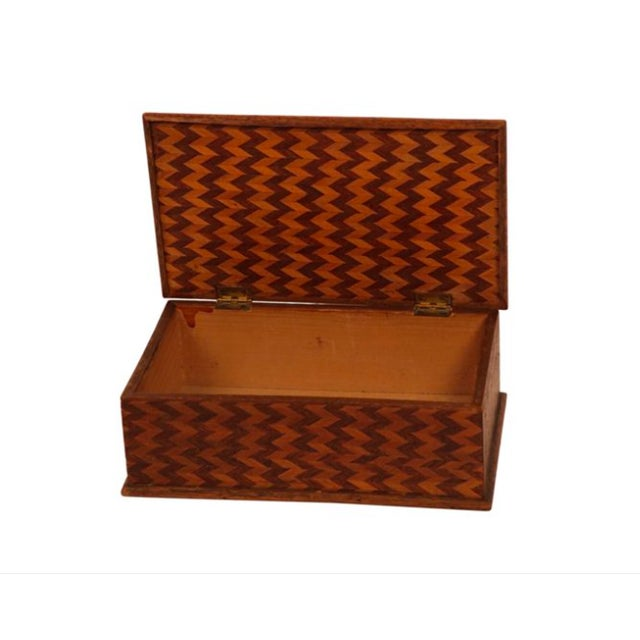 Folk Art Marquetry Zig Zag Box - Image 3 of 3