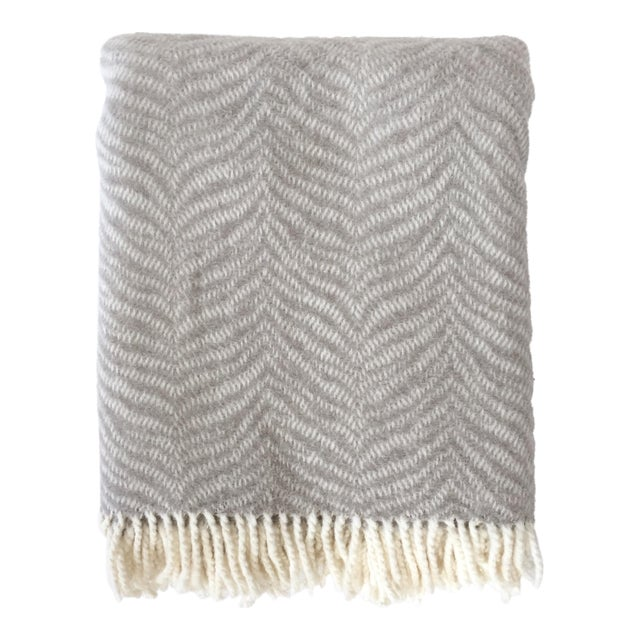 Fringed Gray Tiger Throw Blanket For Sale In Denver - Image 6 of 6