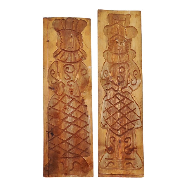 Vintage Scandinavian Royalty Hand Carved Wood Molds - a Pair For Sale