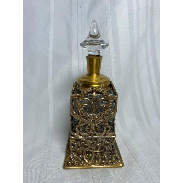 Art Nouveau 1930s Vintage Art Nouveau Goldtone & Crystal Apollo Perfume Bottle For Sale - Image 3 of 9