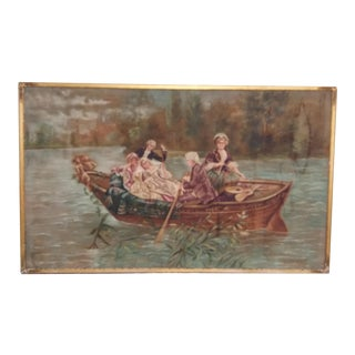Large Antique Painting on Textile in Gilt Wood Frame