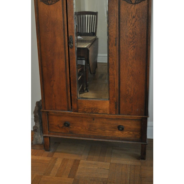 Vintage Oak Armoire With Mirror For Sale - Image 4 of 5