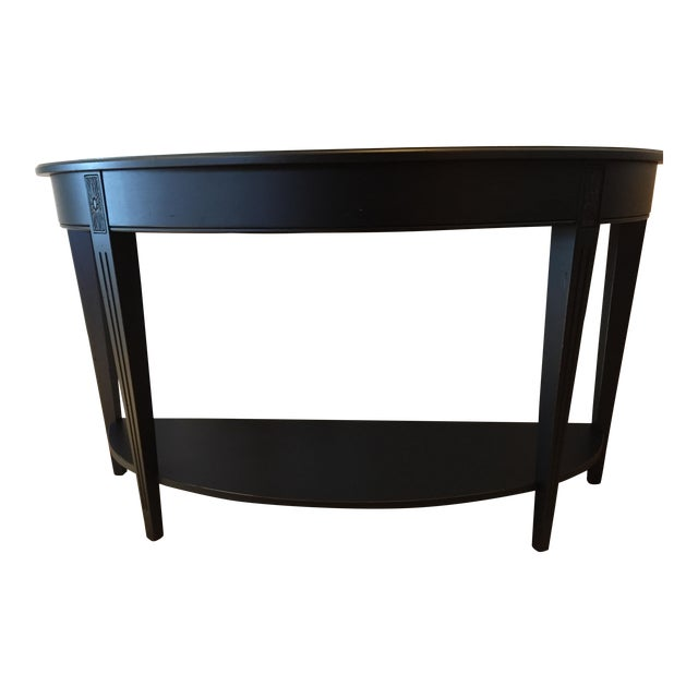 Ethan Allen Charcoal Wood Demilune Sofa Table For Sale
