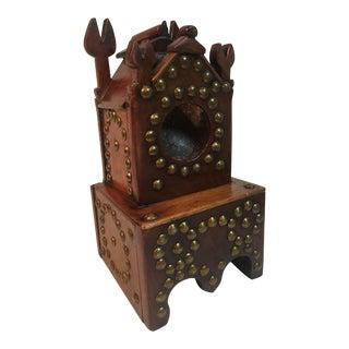 19th Century Folk Art Wooden and Brass Pocket Watch Holder