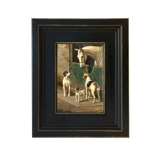 Dogs and Horse at Stable Oil on Canvas Reproduction Painting For Sale