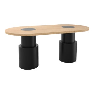 Contemporary 104 Dining Table in Oak and Black by Orphan Work, 2020 For Sale