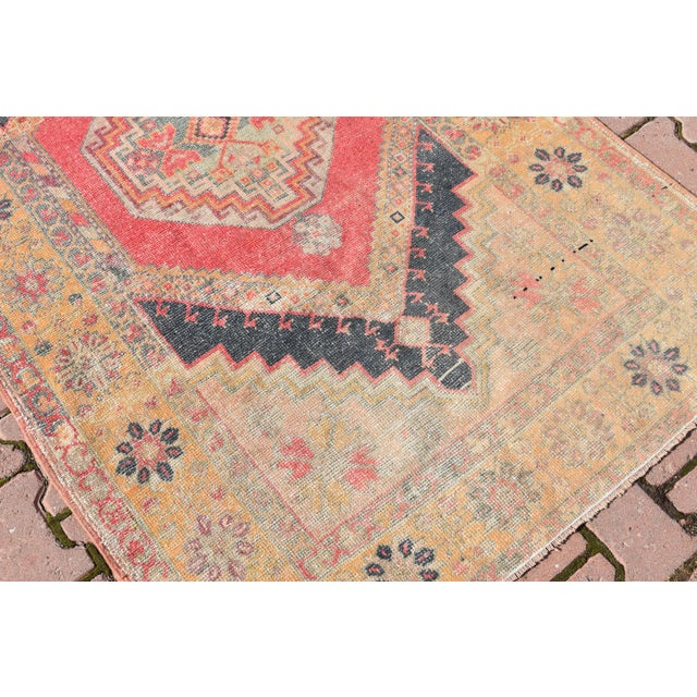 Vintage Muted Turkish Handwoven Beige Area Carpet - 3′8″ × 6′2″ - Image 5 of 6