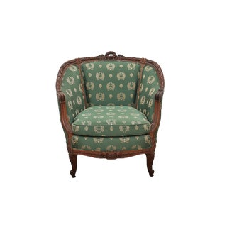 1980s Vintage Green Silk French Provencial Marquis Chair For Sale