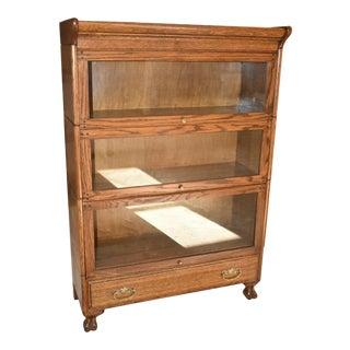 Antique Oak Grand Rapids 3 Stack Barrister Bookcase For Sale