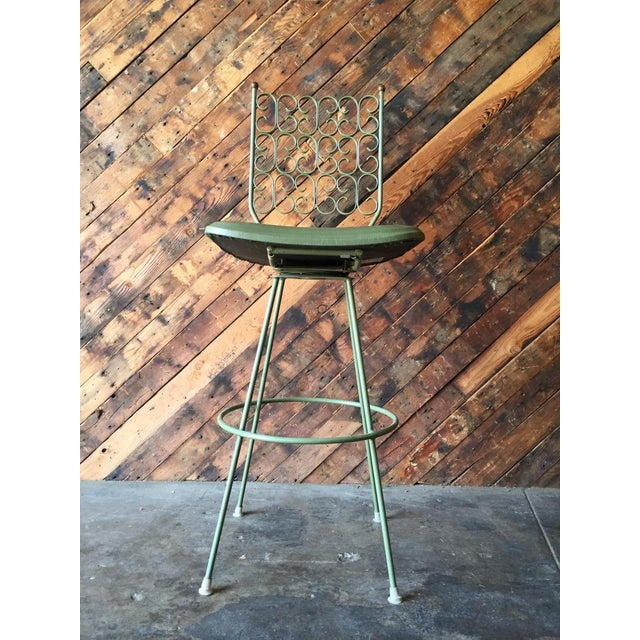 "Salterini painted wrought iron sage green barstool. L 18"" x D 18"" x H 47"" x SH 30"""