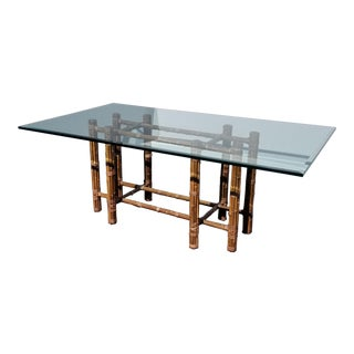 Vintage Bamboo Base Glass Top Dining Room Table For Sale