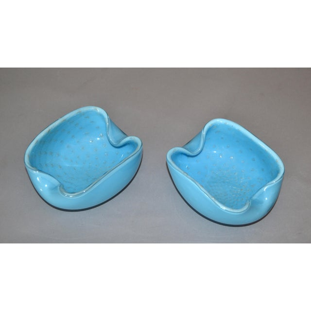 Two Elegant Murano Glass light blue and gold flecks bowls / catchalls. No markings. Simply beautiful.