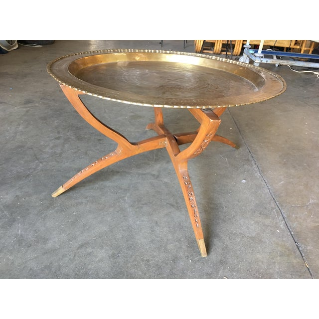 Chinese Folding Coffee Table With Brass Charger Tray For Sale In Los Angeles - Image 6 of 7