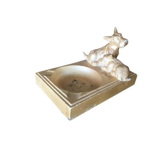 Art Deco Enameled Spelter Metal Terrier Ashtray For Sale