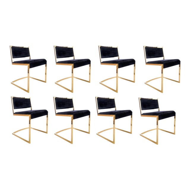 Bradley Gold and Black Dining Chairs - Set of 8 For Sale