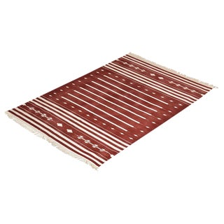 Dahlia Rug, 8x10, Brick Red & White For Sale