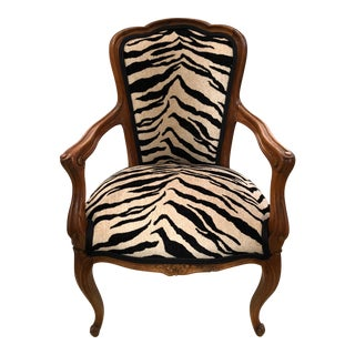 1940s French Children's Animal Print Bergere Chair For Sale