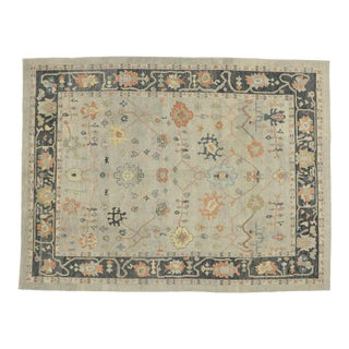 Contemporary Turkish Oushak Rug With Transitional Style - 10'05 X 13'10 For Sale
