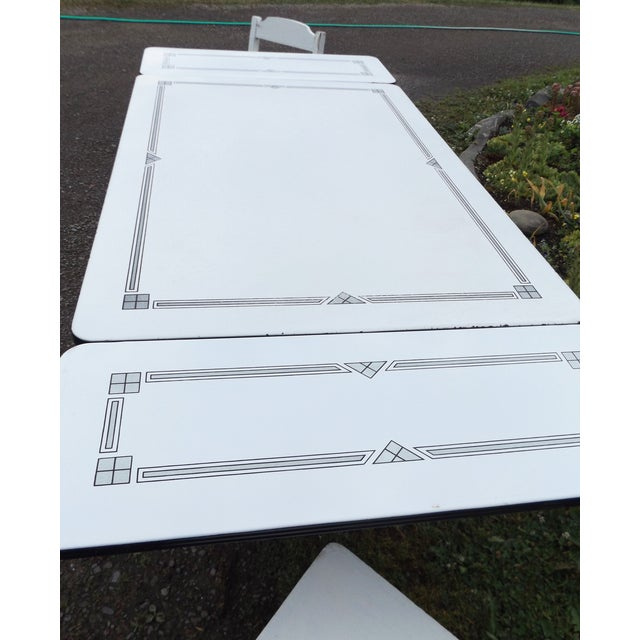 White Porcelain Expandable Farmhouse Table Set - Image 6 of 11