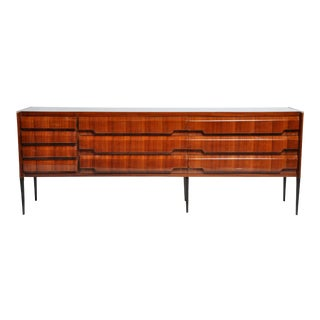 Mid-Century Modern Italian Mahogany Sideboard With Glass Top For Sale
