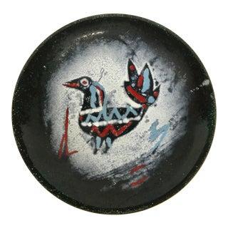 Vintage Enamel Over Copper Tribal Trinket Dish For Sale
